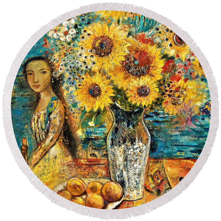 Shijun Round Beach Towel featuring the painting Southern Sunshine by Shijun Munns