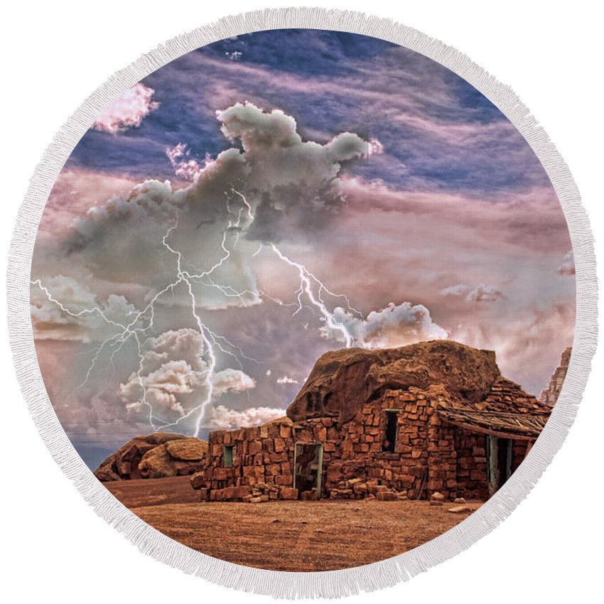 Rock House Round Beach Towel featuring the photograph Southwest Navajo Rock House And Lightning Strikes Hdr by James BO Insogna