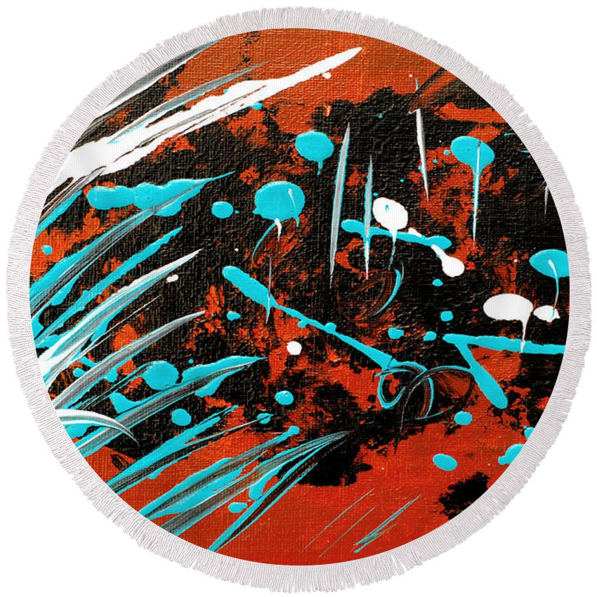Bold Abstract Round Beach Towel featuring the painting Southwest Rain by Donna Blackhall