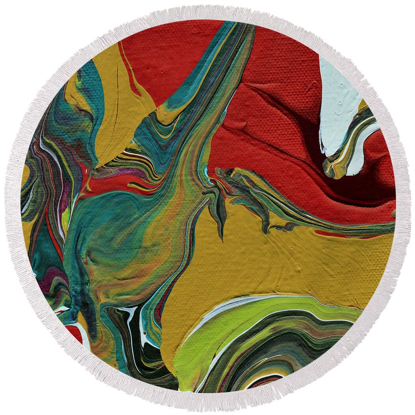 Modern Round Beach Towel featuring the painting Southwestern Design by Donna Blackhall