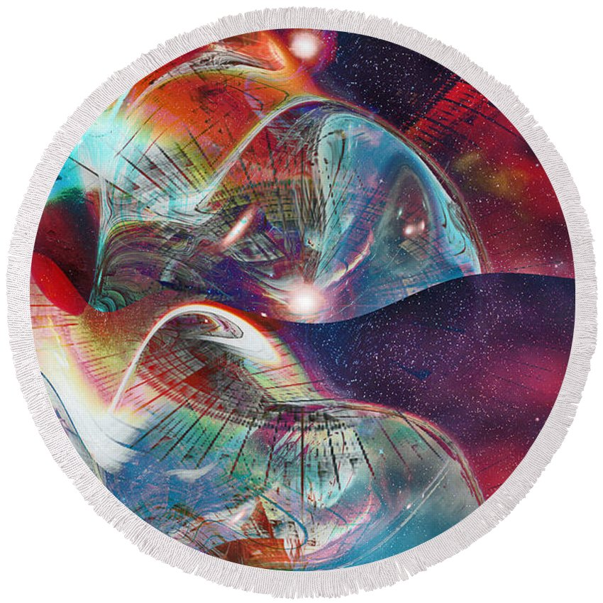 Space Bubble Round Beach Towel featuring the digital art Space Bubble by Linda Sannuti