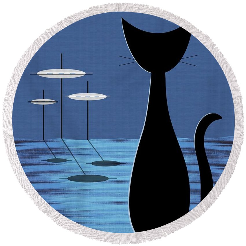 Mid Century Modern Round Beach Towel featuring the digital art Space Cat In Blue by Donna Mibus