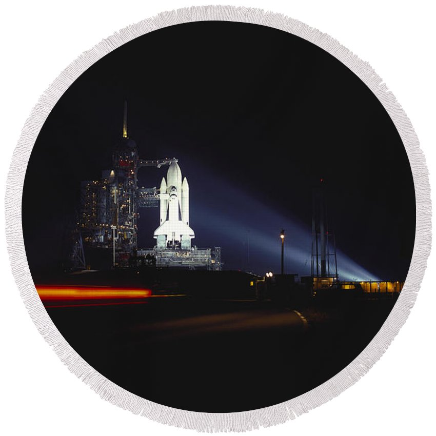 Space Travel Round Beach Towel featuring the photograph Space Shuttle Columbia by Tim Holt