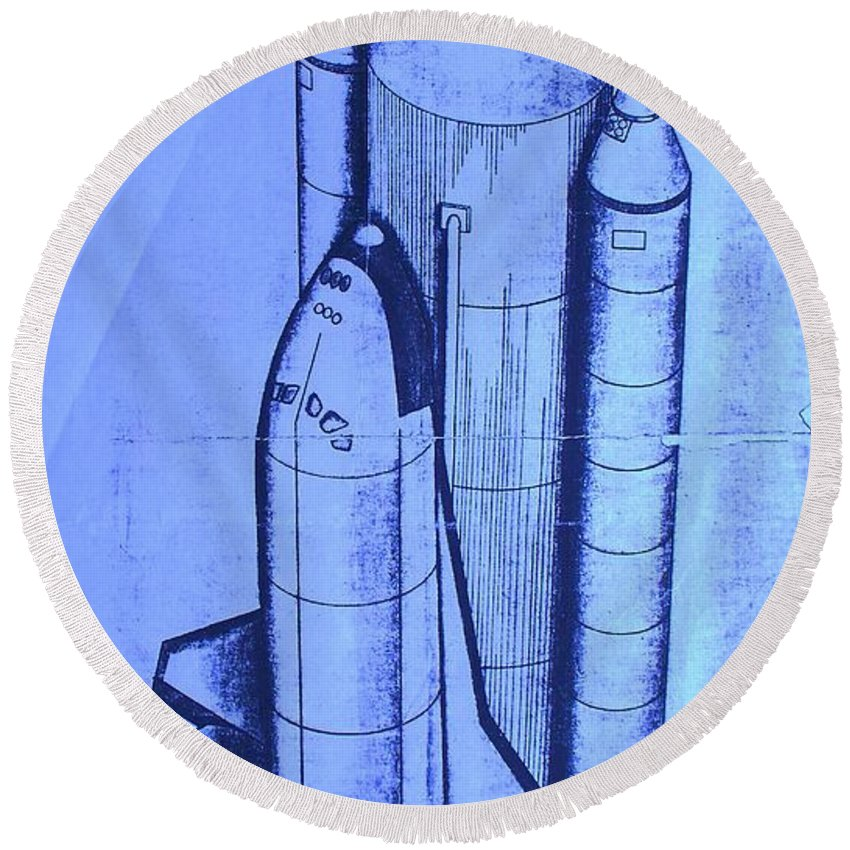 Space Shuttle Round Beach Towel featuring the painting Space Shuttle by Eric Schiabor