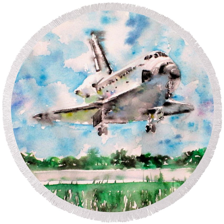 Space Round Beach Towel featuring the painting Space Shuttle Landing by Fabrizio Cassetta
