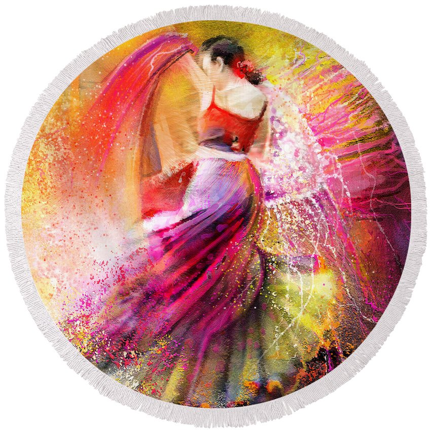 Flamenco Painting Round Beach Towel featuring the painting Spain - Flamencoscape 12 by Miki De Goodaboom