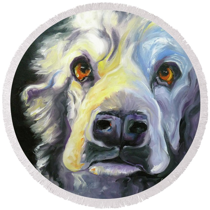 Dogs Round Beach Towel featuring the painting Spaniel In Thought by Susan A Becker