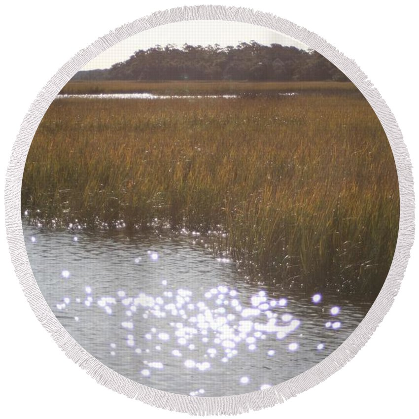 Marsh Round Beach Towel featuring the photograph Sparkling Marsh by Nadine Rippelmeyer