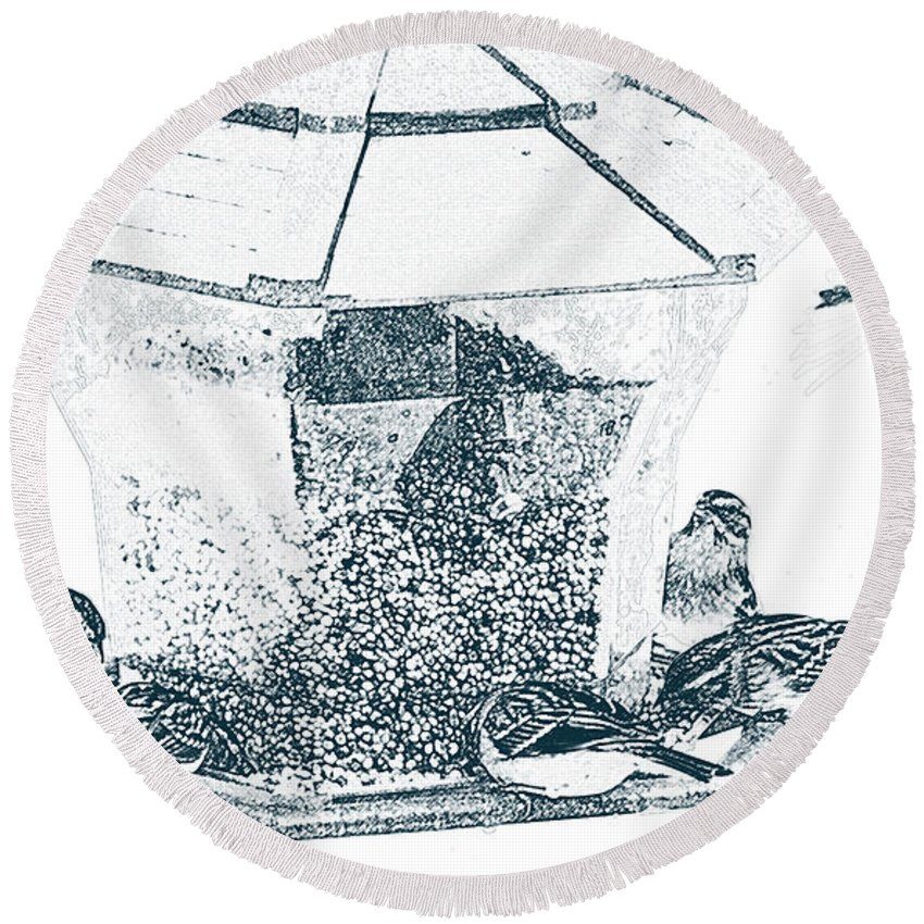 Sparrow Round Beach Towel featuring the photograph Sparrows In Charcoal by Karin Everhart