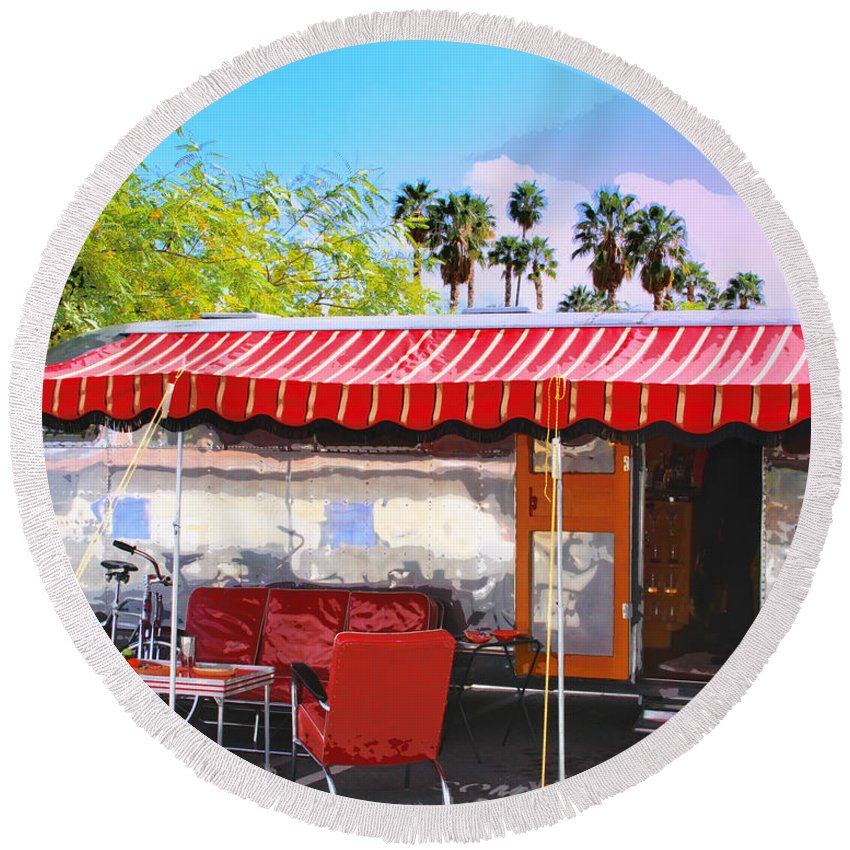 Airstream Round Beach Towel featuring the photograph Spartan Manor Palm Springs by William Dey