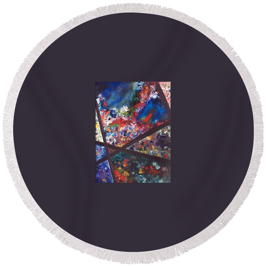 Abstract Round Beach Towel featuring the painting Spectral Chaos by Micah Guenther