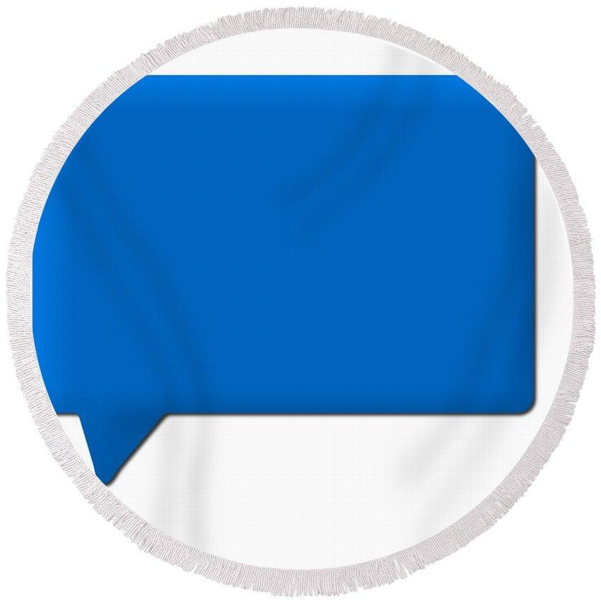 Speech Round Beach Towel featuring the digital art Speech Bubble Blue by Henrik Lehnerer
