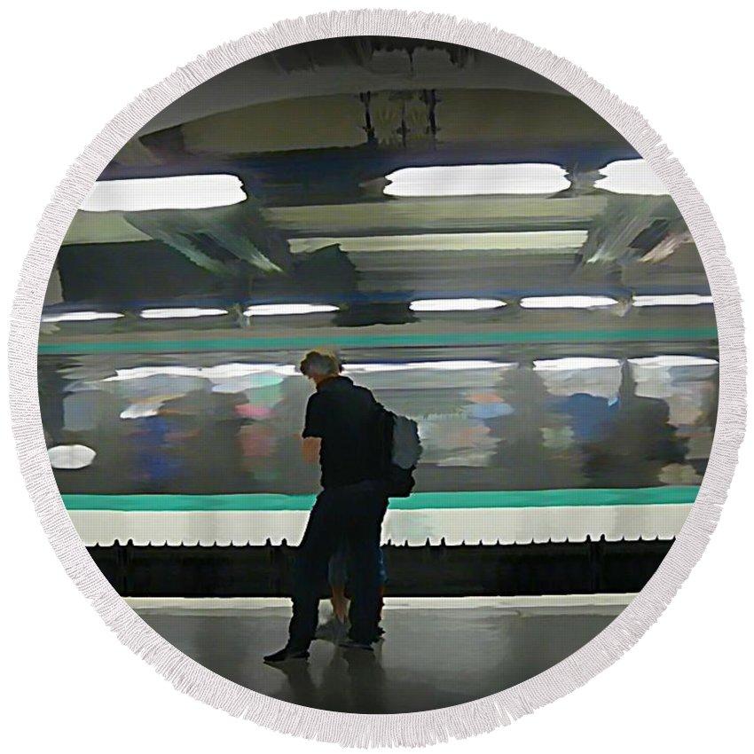 Subway Round Beach Towel featuring the painting Speeding Subway Train by John Malone