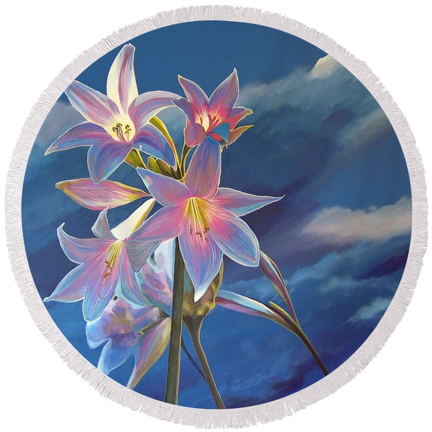 Botanical Round Beach Towel featuring the painting Spellbound by Hunter Jay