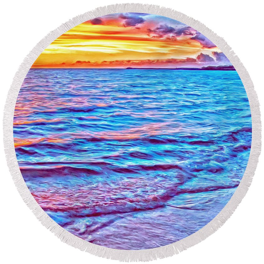 Samuel Spencer Round Beach Towel featuring the painting Spencer Beach Sunset by Dominic Piperata