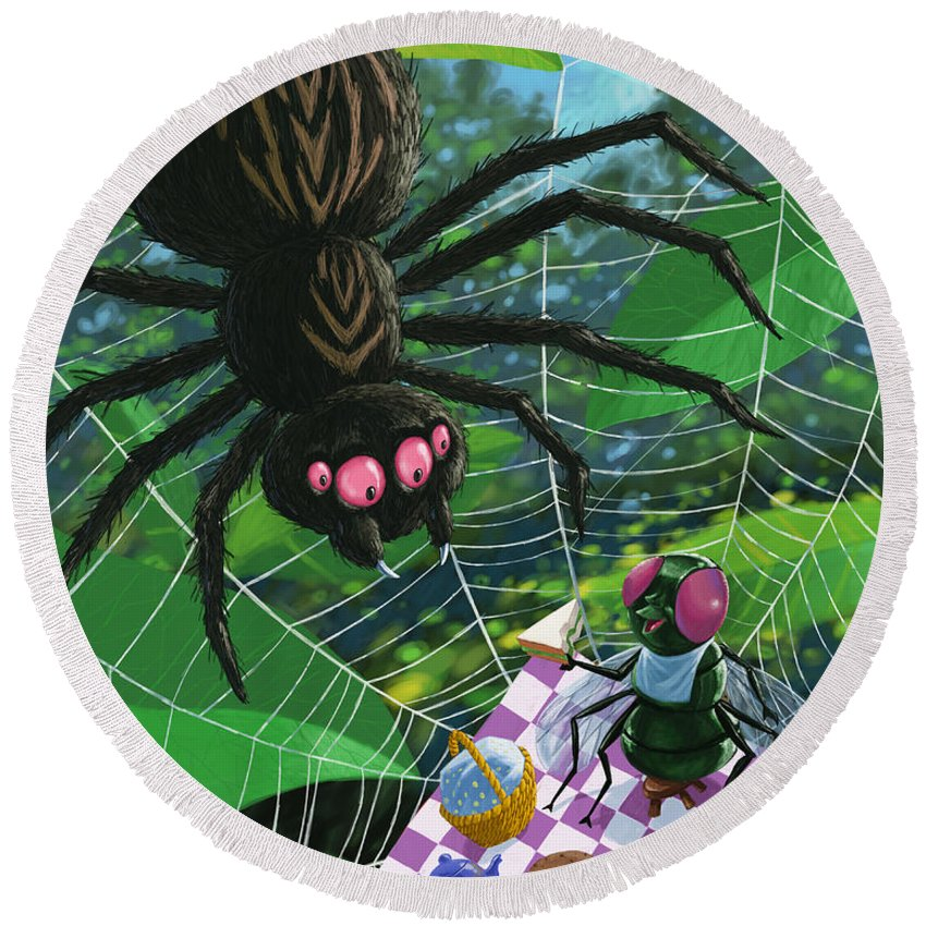Picnic Round Beach Towel featuring the painting Spider Picnic by Martin Davey
