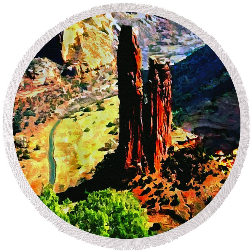 Ancient Round Beach Towel featuring the painting Spider Rock Canyon Dechelly by Bob and Nadine Johnston