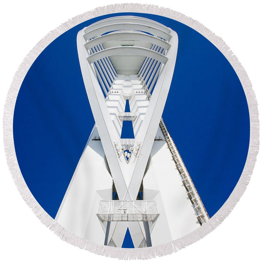 Spinnaker Round Beach Towel featuring the photograph Spinnaker Tower Portsmouth Uk by Simon Bratt Photography LRPS