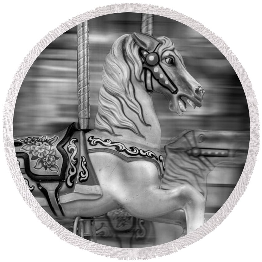 Carousel Round Beach Towel featuring the photograph Spinning Horses by Ricky Barnard
