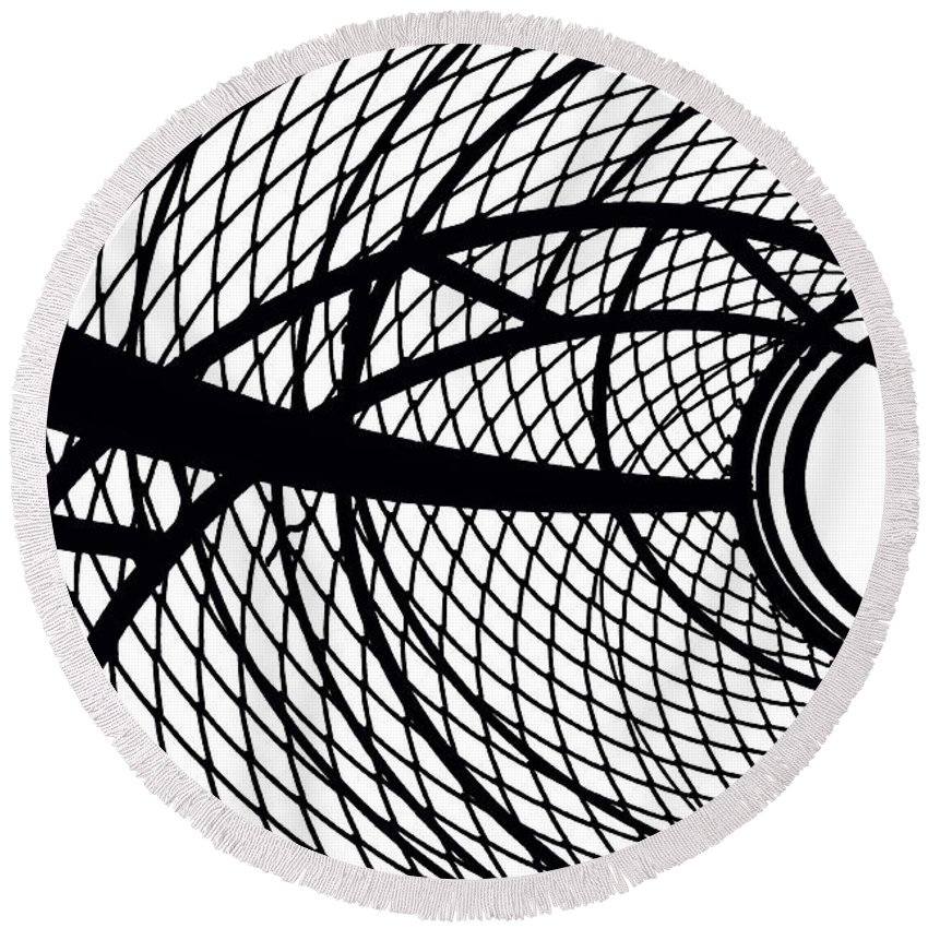 Abstract Black And White Round Beach Towel featuring the photograph Spinning My Wheels by Regina Geoghan