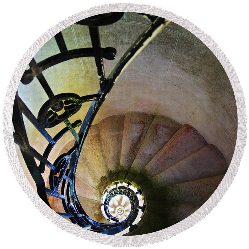 Abstract Round Beach Towel featuring the photograph Spinning Stairway by Carlos Caetano
