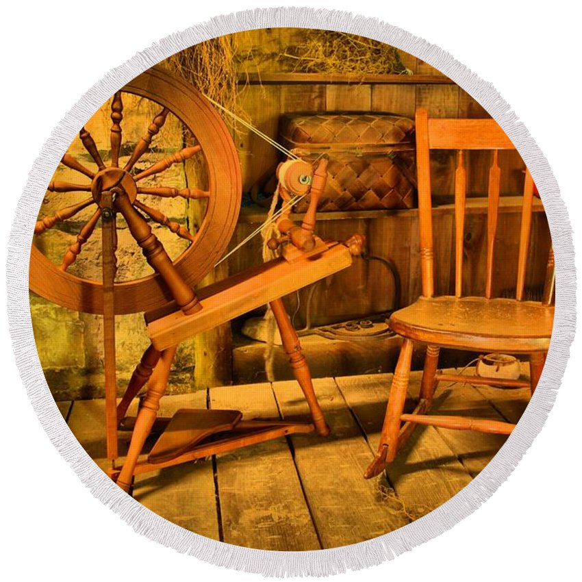 Spinning Wheel Round Beach Towel featuring the photograph Spinning Wheel by Adam Jewell