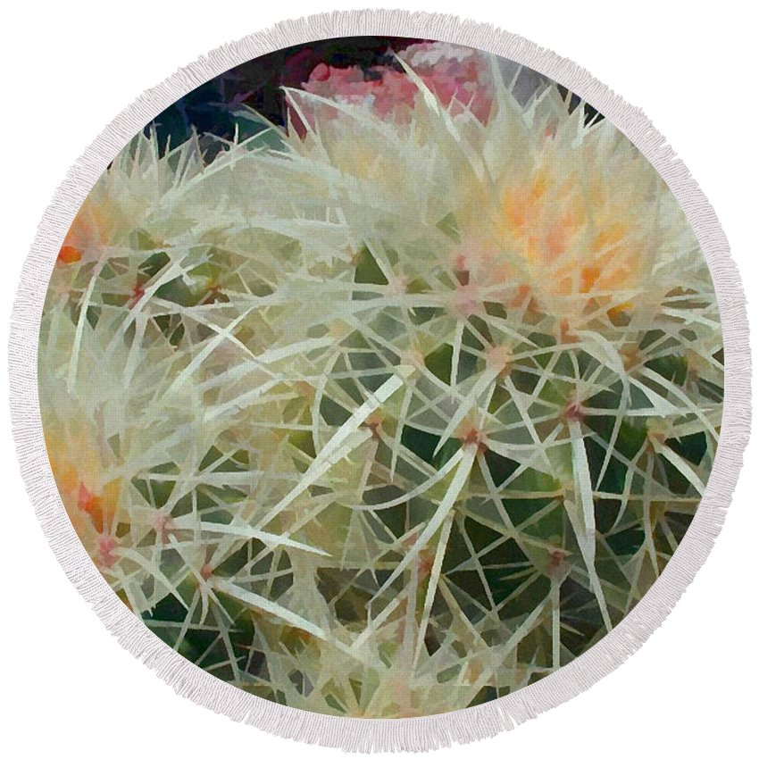 Cactus Round Beach Towel featuring the painting Spiny Barrel Cactus by Elaine Plesser