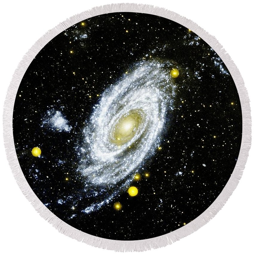Spiral Galaxy Round Beach Towel featuring the photograph Spiral Galaxy by Benjamin Yeager