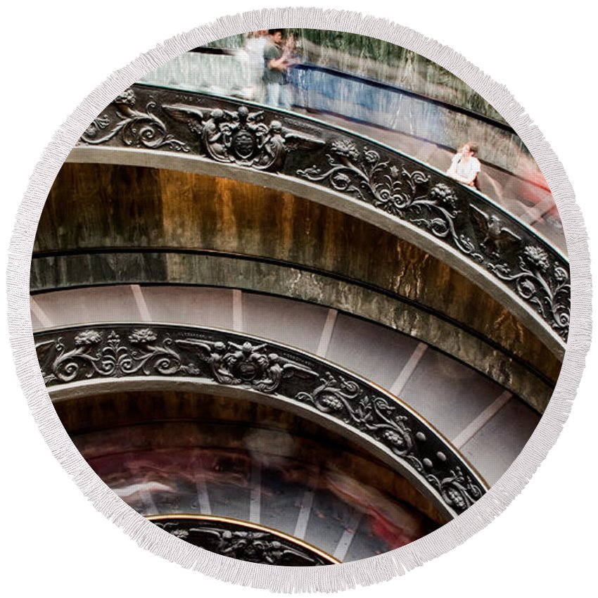 Spiral Staircase Round Beach Towel featuring the photograph Spiral Staircase No4 by Weston Westmoreland