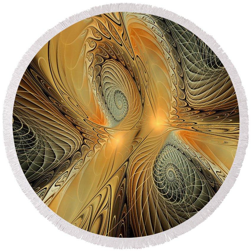 Fractal Art Round Beach Towel featuring the digital art Spirals Of Gold by Deborah Benoit