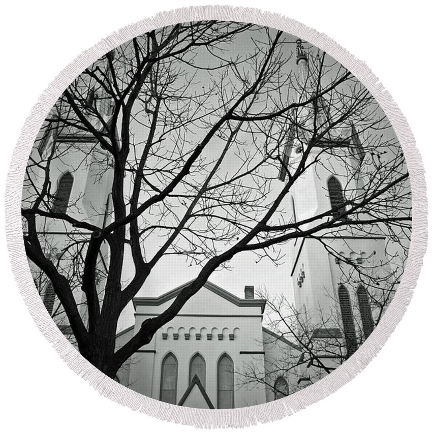 Evangelical Round Beach Towel featuring the photograph Spire Tree by Jost Houk