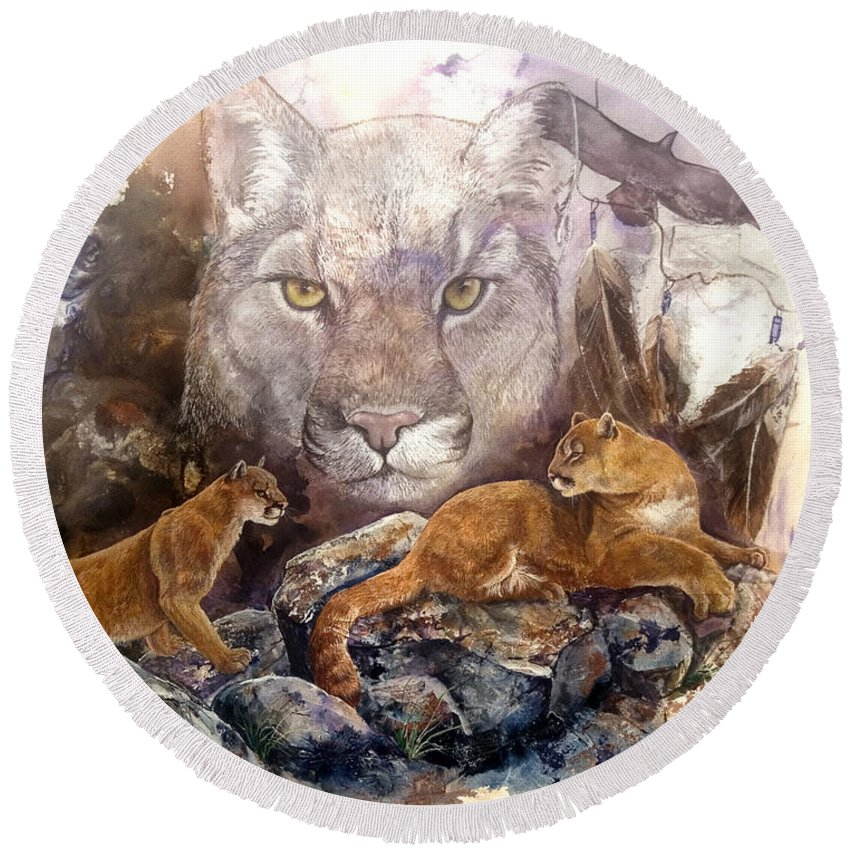 Cougar Round Beach Towel featuring the painting Spirit Cat by Sherry Shipley