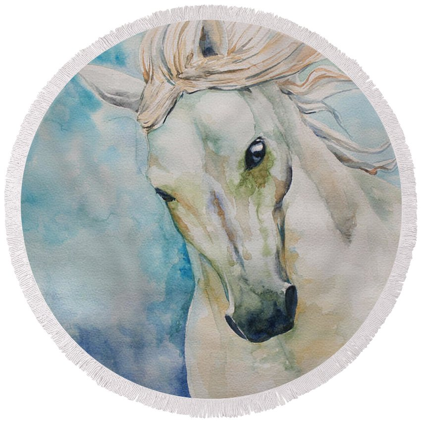 Horse Round Beach Towel featuring the painting Spirit by Tamer and Cindy Elsharouni
