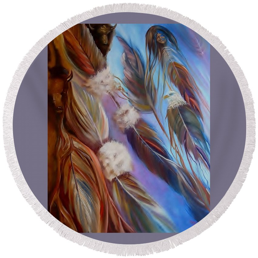 Feathers Round Beach Towel featuring the painting Spirit Feathers by Sherry Strong