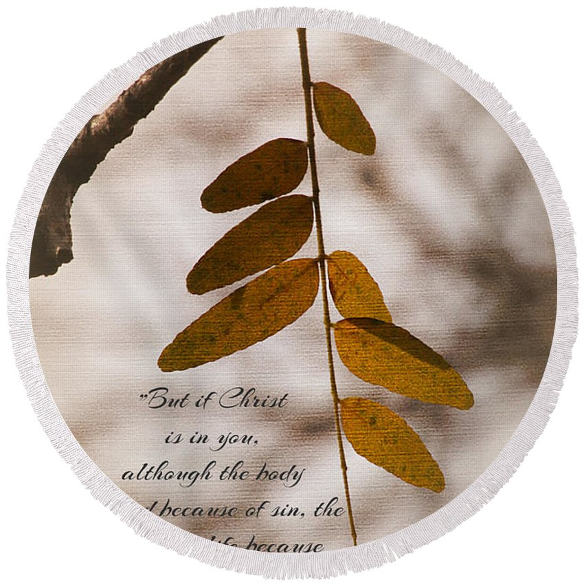 #leaves Round Beach Towel featuring the photograph Spirit Is Life by Debbie Nobile