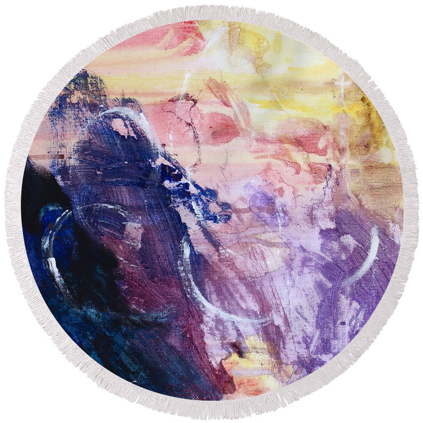 Energy Round Beach Towel featuring the painting Spirit Of Life - Abstract 1 by Kume Bryant