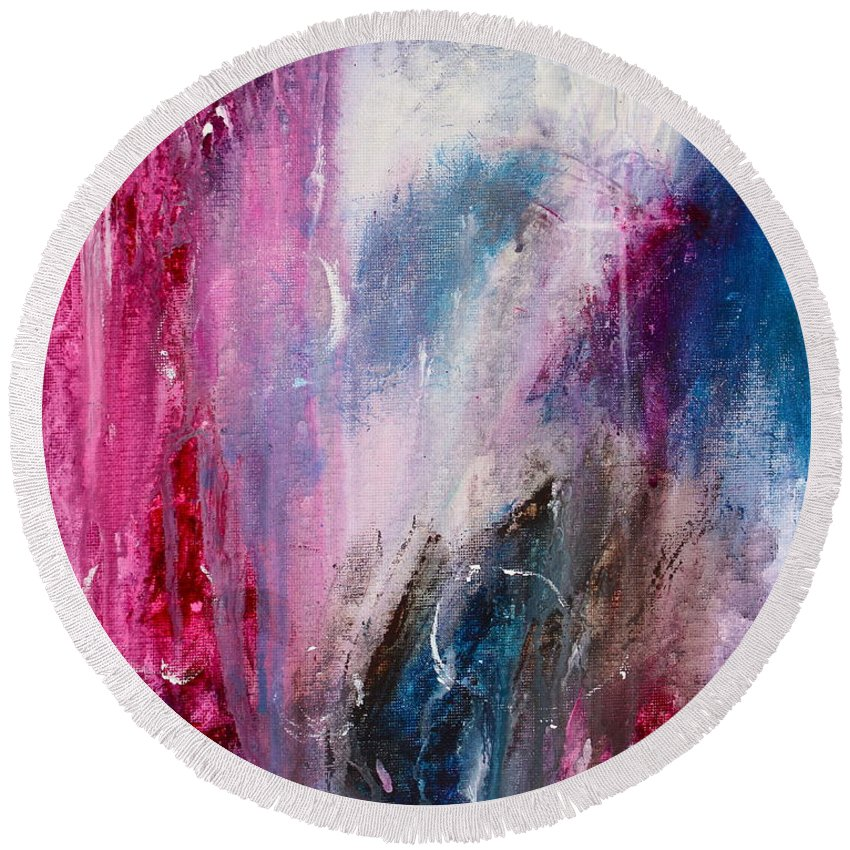 Energy Round Beach Towel featuring the painting Spirit Of Life - Abstract 2 by Kume Bryant