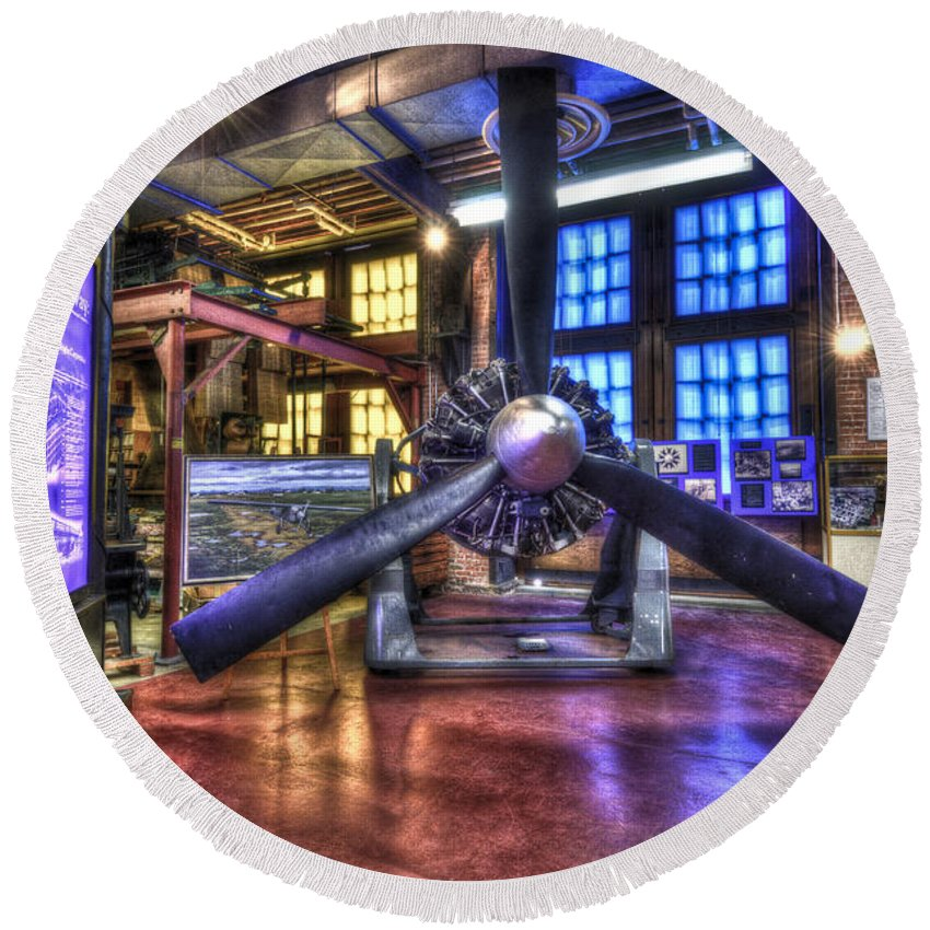 Hdr Round Beach Towel featuring the photograph Spirit Of St.louis Engine by Anthony Sacco