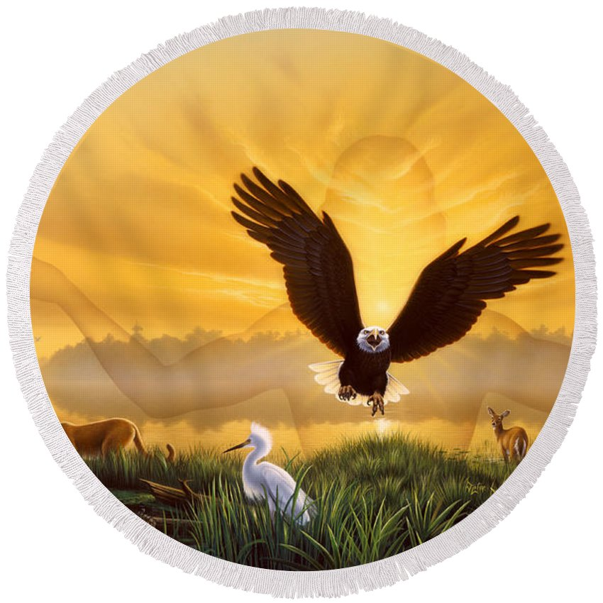 Eagle Round Beach Towel featuring the painting Spirit Of The Everglades by Jerry LoFaro