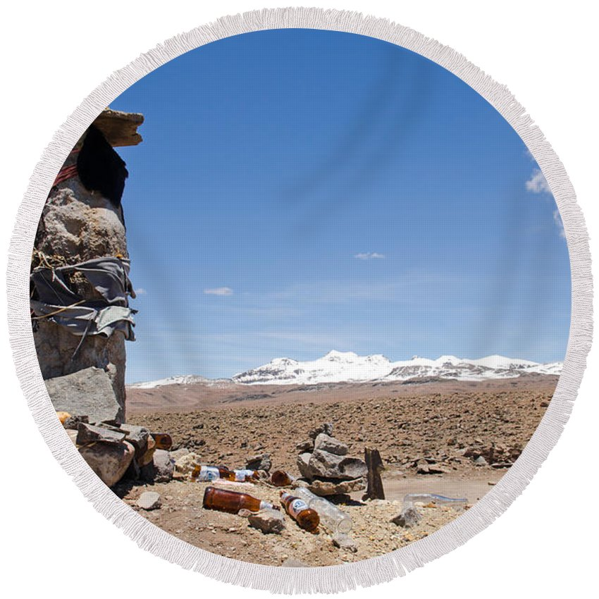 Cairns Round Beach Towel featuring the photograph Spiritual Cairn In The Peruvian Altiplano by Ralf Broskvar