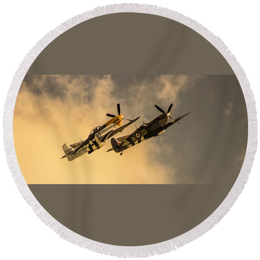 Duxford Round Beach Towel featuring the photograph Spitfire by Martin Newman