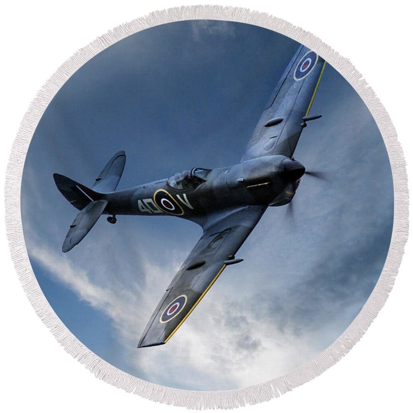 Supermarine Spitfire Te311 Round Beach Towel featuring the digital art Spitfire Pass by J Biggadike
