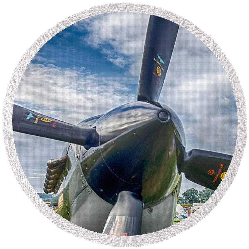 Aviation Round Beach Towel featuring the photograph Spitfire Prop  7d03705 by Guy Whiteley