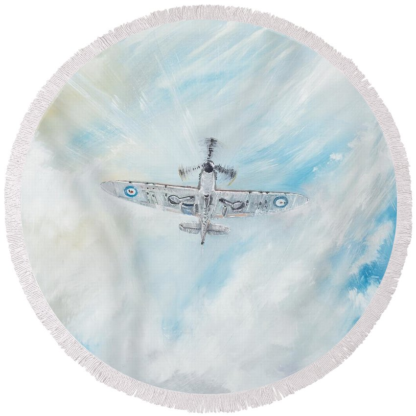 Spitfire Round Beach Towel featuring the painting Spitfire by Vincent Alexander Booth