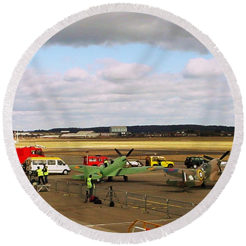 Spitfires Round Beach Towel featuring the photograph Spitfire's Galore by Terri Waters