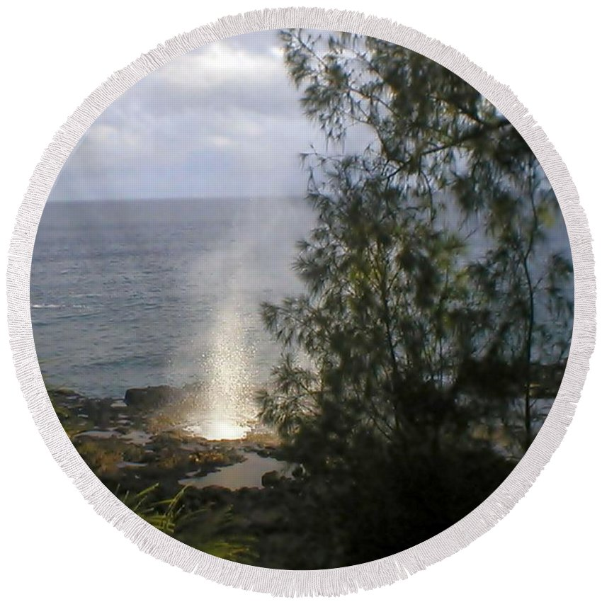 Ocean Round Beach Towel featuring the photograph Splash by Jo Jurkiewicz