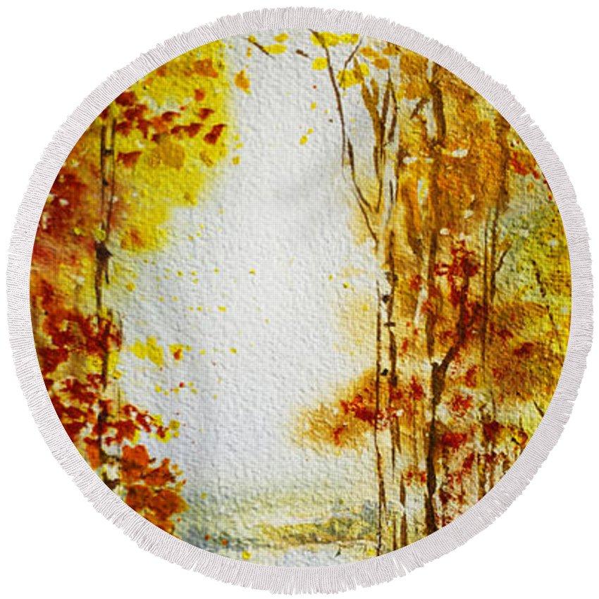 Fall Round Beach Towel featuring the painting Splash Of Fall by Irina Sztukowski