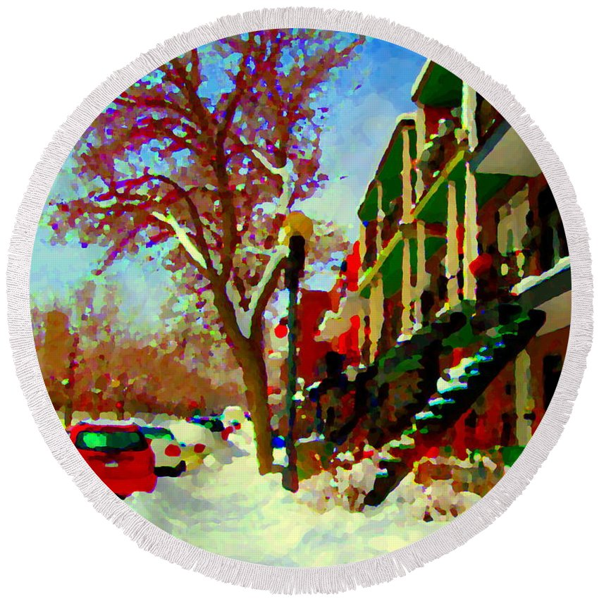 Round Beach Towel featuring the painting Splendor And Colors Of Quebec Winters Verdun Montreal Urban Street Scene Carole Spandau by Carole Spandau