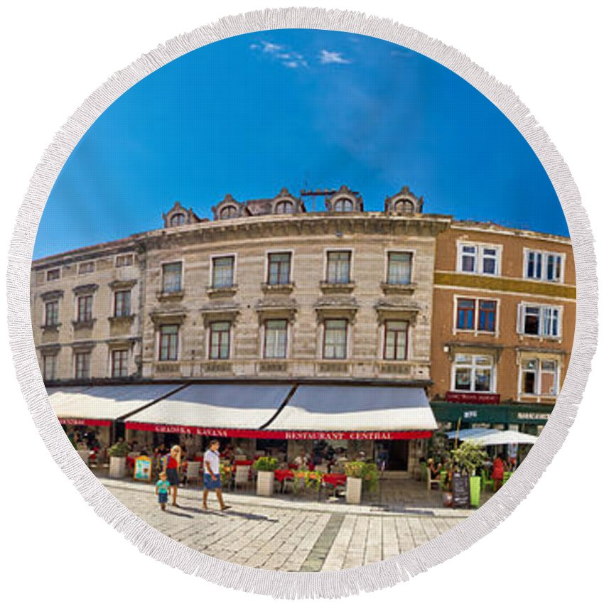Split Round Beach Towel featuring the photograph Split Historic Square Panoramic View by Brch Photography