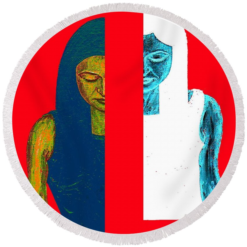 Psychology Round Beach Towel featuring the painting Split Personality by Patrick J Murphy